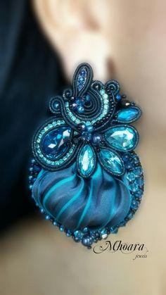 ' Black & Midnight Blue ' earrings shibori silk and soutache by Mhoara j