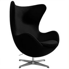 AEON Furniture Columbia Fiber Glass Egg Chair ($1,170) ❤ liked on Polyvore featuring home, furniture, chairs, accent chairs, home decor, black, black chair, black accent chair, black lounge chair and black glass furniture