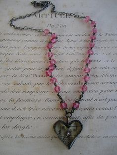 sweet soldered heart on vintage pink rosary by dandelionatelier, $60.00
