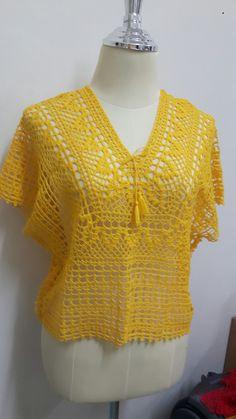 Pullover pattern by michiyo Diy Crochet, Irish Crochet, Crochet Doilies, Hand Crochet, Crochet Top, Crochet Stitches Patterns, Crochet Designs, Crochet Summer Tops, Crochet Cardigan