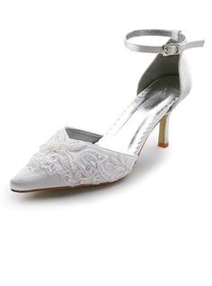 Satin Stiletto Heel Closed Toe Pumps Wedding Shoes With Buckle Stitching Lace (047005036)