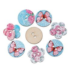 HOUSWEETY 50PCs Wooden Buttons Butterfly Flower Style Blue 2hole Sewing Scrapbook DIY *** Details can be found by clicking on the image. (This is an affiliate link) #ArtDIYCraftsSewingButtons
