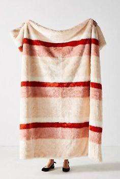 Striped Faux Fur Throw Blanket