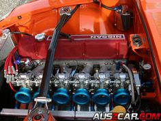 """Eiji Hosomi's NISSAN FAIRLADY 240Z / ZG Fully Modified Dragster Engine - 6 Slide-Valve Carburetors on its 3.1-liter fully modified """"L28"""" -...N42 block with water jacket filler cement, LD28 crankshaft, Kameari 128 mm rods and 89 mm pistons.. argon welded N42 head w/ 46 mm/ 38mm, Wako 75S cam (this Japan style setup can outrun stock Turbo and V8 cars. ..Japanese have had 20+ years experience in modifying L28 engines, into L31-specs even)"""