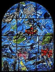 The tribe Rheuben ~ The twelve windows were created by Marc Chagall for the Synagogue of the Hadassah hospital in Jerusalem. They symbolize the twelve sons of Jacob, which made the twelve tribes of Israel. Marc Chagall, Stained Glass Art, Stained Glass Windows, Chagall Windows, Chagall Paintings, Sons Of Jacob, Jerusalem, Jewish Art, Religious Art