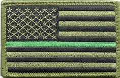 Green US Flag Thin Green Line Patch for Park Rangers, US Border Patrol, and Environment Services Personnel with Hook/Loop Backing