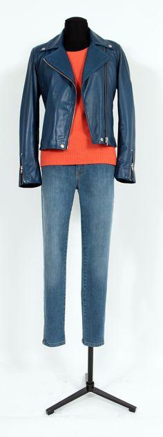 1.2.3 Paris - Blouson Xylos / Pull Chantilly / Jean Glaçon #mode #automne #123 #bleu #rouge #denim #british #maille