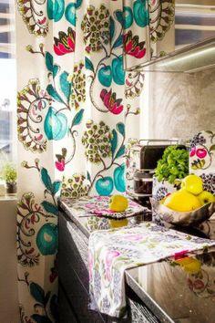 Vallila Interior Persikka turquoise curtain & Persikka kitchen accessories.