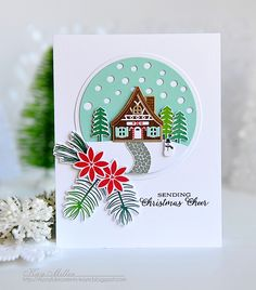 Winter Sending Christmas Cheer Card by Kay Miller for Papertrey Ink (November 2015)