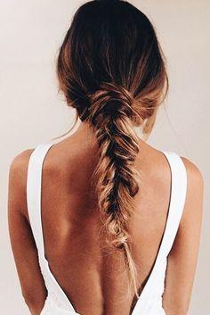 #hair hairstyle, braided hair, pretty hair, long hair, casual hair style, easy hair style, effortless hair style, fishtail braid