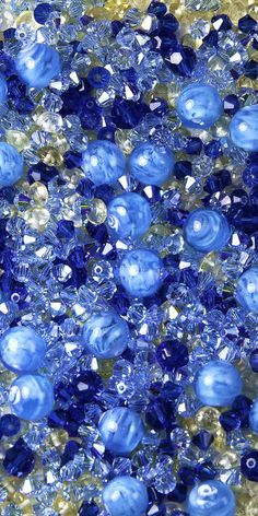 Blue Beads & Marbles   I want to toss them all over the place and spread the joy!  Blue and White Christmas,  Patti M