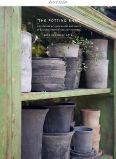 The Potting Shed is restocked with new shades and shapes of our handmade terracotta vessels at Terrain.