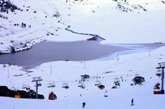 Snow covered mountains and lake at Falls Creek ski resort in Victoria, Australia #snowaus