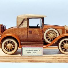 The woodworking plan patterns for the 1910 Ford Model T are all full size. They include instructions for the detailed wheels, the base and plaque. Wooden Truck, Wooden Car, Coloring For Kids Free, Wood Toys Plans, Handmade Wooden Toys, Fire Engine, Ford Models, Fire Trucks, Woodworking Plans