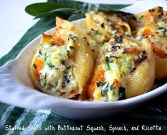Butternut Squash, Spinach, and Ricotta Stuffed Shells. Pumpkin can also be a substitute for butternut squash. Get this recipe at melskitchencafe.com.