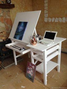 Art Studio Room, Art Studio Design, Art Studio At Home, Home Art, Art Studio Organization, Art Studio Storage, Art Supplies Storage, Art Storage, Home Interior