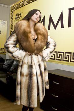 mink & fox fur coat
