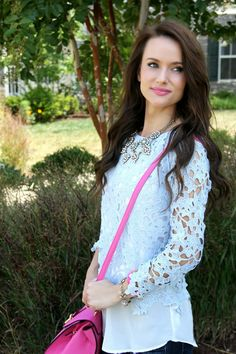 Kiss Me Darling: Fashion on a Budget and a $300 Madewell Giveaway lace top, lace cut out top, skinny denim, laser cut heels, pink bag, pink cross body