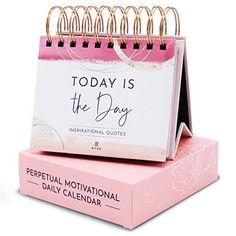 Motivational Desk Calendar - Daily Inspirational Quotes Flip Calendar (Pink)