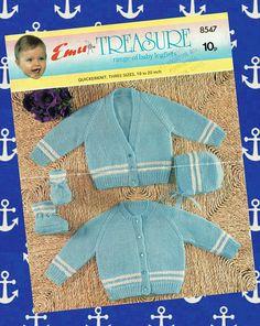 Original Vintage Baby Sailor Knitting Pattern Emu 8547 Types Of Patterns, Baby Patterns, Vintage Patterns, Knitting Patterns, Sewing Patterns, Crochet Patterns, Pram Sets, Vintage Knitting, Baby Knitting