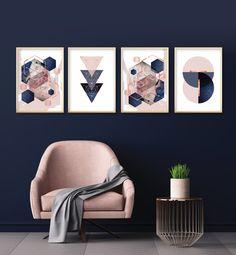 Stunning Printable Art - Set of 4 printable blush pink navy blue rose gold geometric Blue And Pink Living Room, Blue And Gold Bedroom, Navy Blue Bedrooms, Navy Living Rooms, Pink Room, Blue Rooms, Dusky Pink Bedroom, Gold Bedroom Accents, Blue Accent Walls
