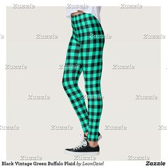 Shop Black Vintage Green Buffalo Plaid Leggings created by LeonOziel. Gym Leggings, Leggings Fashion, Black Leggings, Beautiful Yoga, Gym Fashion, Fashion Outfits, Gym Style, Gingham Check, Running Tights