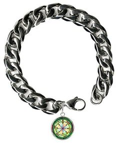 "Solomons 6th Mars for All-encompassing Protection 9"" Mens Bracelet 12mm Thick Curb Chain"