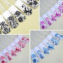 1Pack/108PCS 3D Flower Full Cover Nail Art Stickers Decals Sheet Stamping Manicure DIY Decoration White/Red/Black/Blue(China (Mainland))