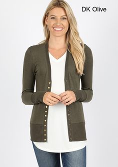 Snap Button Sweater Cardigan W/Detail Sweater Cardigan, Neckline, Buttons, Sleeves, Sweaters, Color, Detail, Fashion, Sweater