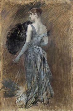 Giovanni Boldini, Blonde lady in evening dress, 1889 ca. Pastel on paper pasted on canvas, 220x150cm. Art Collections Cariparma Foundation, donation Renato Bruson