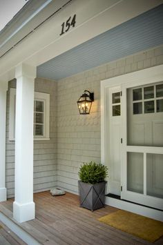 Screen door, front door, side windows, planter box, light fixture - love it all