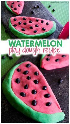 Homemade Watermelon Play Dough Recipe. So cute and fun for summer kid play.
