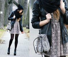 biker jacket + lace dress