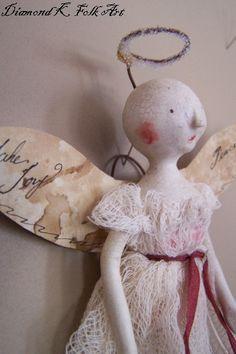 Primitive Folk Art Christmas Angel Ornament by DiamondkFolkArt