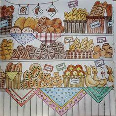 BAKERY Pauline -since1895- 下段左から3番目のパンはパンプキンパンをイメージして、かぼちゃの種をトッピングしてみました♪ #大人の塗り絵 #ここっと #ロマンティックカントリー #컬러링 #로맨틱컨트리 #romanticcountry