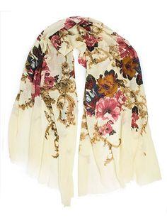 Eleanor blanket scarf, oversized winter scarf, floral scarf (Black)