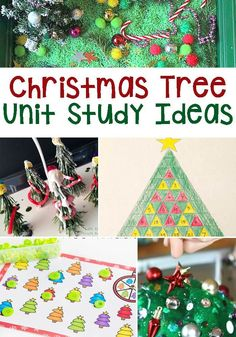 The perfect activities from Life Over C's to create a Christmas Tree Unit Study including math, literacy, art & crafts, sensory, and science. This year, don't just do a Christmas theme, do a Christmas tree theme unit study for learning! Your kids will love using these Christmas tree activities to learn about their subjects! #christmas #kidactivities #learning #math #crafts #kindergarten