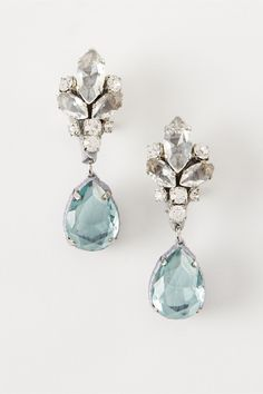 """These aquamarine crystal earrings fit very stylishly into the category of """"something blue"""" for your wedding day. A love for handmade objects and an artisan passion for detail underscore all of Rada's designs, from shoes to scarves to bijoux.   Viviana Earrings in New at BHLDN"""