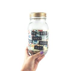 Glass Mason Jar Money Bank for Travel Savings, Unique Travel Gift, Saving Jar, Vacation Jar, Piggy Bank Money Pot with Postage Design