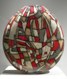 """Maureen Williams """"Altered Landscape 7""""  Blown,cut and painted glass"""