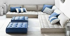 Blue and Beige Tufted French Floor Outdoor Cushions with Perennials all weather fabric.  Perennials Outdoor Fabric available @calissa_homefashion  Enjoy your weekend! #picturebypinterest #calissahomefashion #perennial #perennialsfabrics #outdoor #outdoorfabric #waterproof #waterresistant #fabrics #fabricforhome #home #homedecor #residential #softfurnishings #pillow #cushions #tufted #blue #beige #color #fabricoftheday #easytoclean #instamood #instainterior #interiordesign