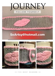 Handmade Cochet Cup Cozy In Soft Gray with Pink Lip (Available in Purple & Red Lip) @ Etsy www.etsy.com/shop/SeArtsy