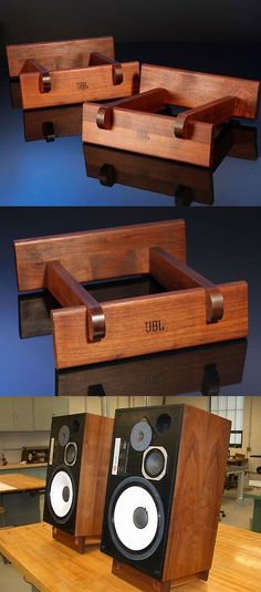 Speaker Mounts and Stands: Vintage Jbl Walnut Speaker Stands BUY IT NOW ONLY: $89.99