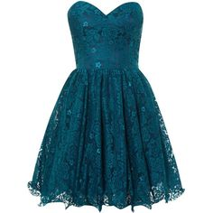 Chi Chi London Lace Bandeau Party Dress ($47) ❤ liked on Polyvore featuring dresses, vestidos, short dresses, blue, teal, sale, blue dress, mini dress, lace dress and teal lace dress