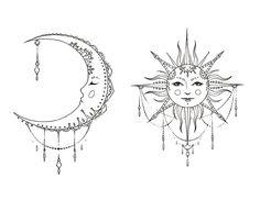 Χρόνος — ha-roro: 🌙 moon & 🌞 sun [by - Sun and moon tattoo - Moon Sun Tattoo, Sun Tattoos, Couple Tattoos, Body Art Tattoos, Tattoo Drawings, Small Tattoos, Sleeve Tattoos, Tattoos Skull, Tatoos