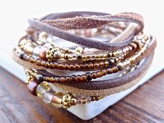 WOMEN'S LEATHER WRAP Bracelets Brown & Gold Beaded Multi Wrap Bracelet Boho Leather Wrap Earthy Leather Wrap Bracelet Everyday Wrap Bracelet
