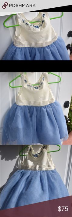 Janie and jack blue and cream infant girl dress.. Gorgeous blue and cream Janie and jack special occasion free with garment bag.   *small stains that can be cleaned with dry cleaning , price reflects the stains  Size 6-12 months Janie and Jack Dresses Formal