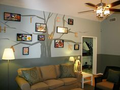 A family tree is painted on the wall to add a fun mural with meaning to the space