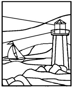 Lighthouse Light House Stained Glass Stepping Stone Patterns