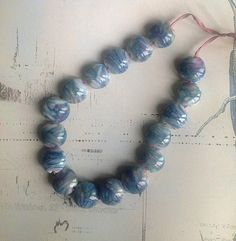 In the Groove - handmade lampwork glass beads £19.50
